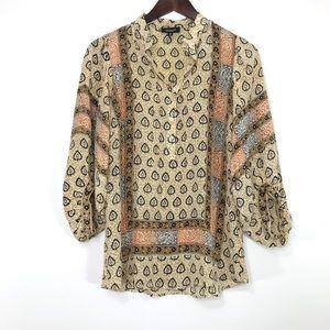 Tolani silk 3/4 sleeve peasant blouse